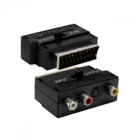 Adapter redukcia SCART 3x cinch + S-video