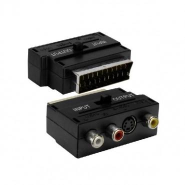 Adapter redukcia SCART 3x cinch + S-video