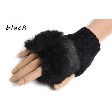 Čierne pletené dámske rukavice bezprstové s kožúškom