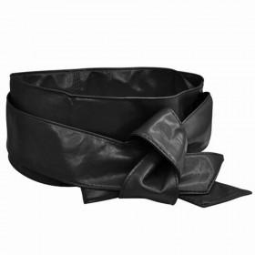 Dámský čierny široký pásek z umělé kůže