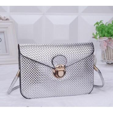 Dámská strieborná metalická mini kabelka