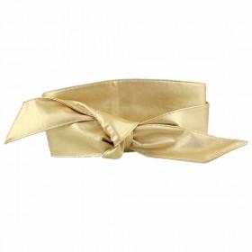 Dámský zlatý široký opasok z eko kože