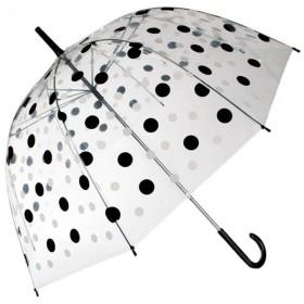 Dámský průhledný deštník Černé puntíky