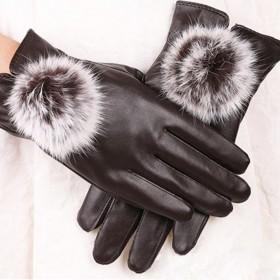 Dámské elegantné rukavice - hnedé