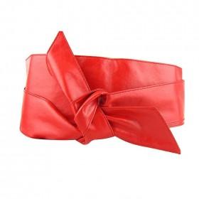 Dámský červený široký opasok z umelej kože