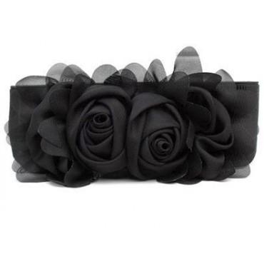 Elastický čierny dámský pásek kytička