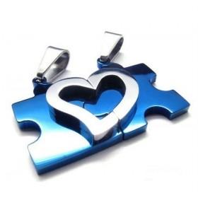 Double přívěšek puzzle srdce modré + 2 řetízky