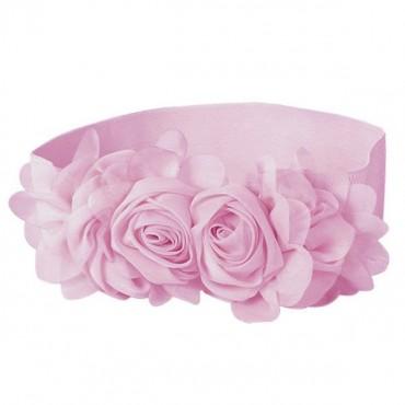 Elastický dámský ružový pásek kytička