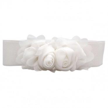 Elastický bíly dámský pásek kytička