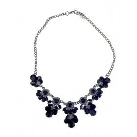 Florálný náhrdelník čierny Cyan