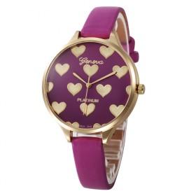Geneva dámské hodinky so srdiečkami Purple