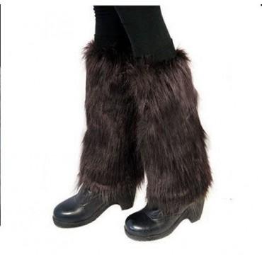 Kožešinové návleky na boty tmavě hnědé 40 cm