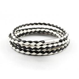 Kožený pletený náramok - černo-bílý