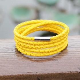 Kožený pletený náramok žlutý