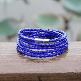 Kožený pletený náramok modrý
