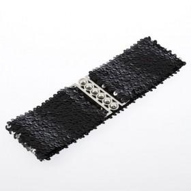 Módní pásek s flitry -černý