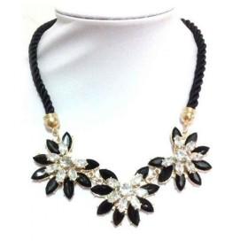 Masivný čierny kvetinový náhrdelník