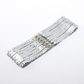 Módný opasok s flitry stříbrný