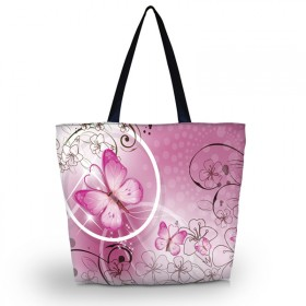 Nákupná a plážová taška Huado - Ružový motýľ