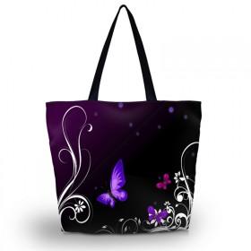 Nákupná a plážová taška Huado - Purpurové motýle