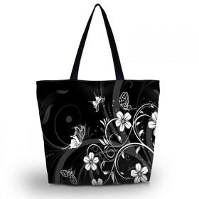Nákupná a plážová taška Huado - Kvetinky