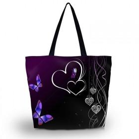 Nákupná a plážová taška Huado - Dvojité srdce