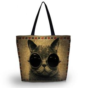 Nákupná a plážová taška Huado - Mačka