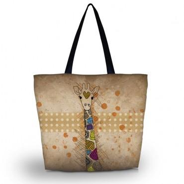 Nákupná a plážová taška Huado - Farebná žirafa