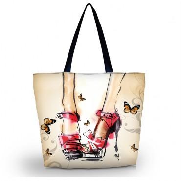 Nákupná a plážová taška Huado - Červené lodičky