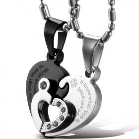 Oceľové partnerské prívesky Double Hearts