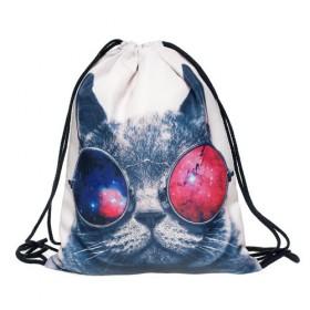 Plátený vak s 3D potlačou Kočka s brýlemi
