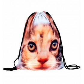 Plátený vak s 3D potlačou Hnědá kočka
