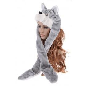 Plyšová zvieracia čapica animal - Sivý Vlk