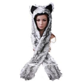 Plyšová huňatá zvieracia čapica - sivý vlk