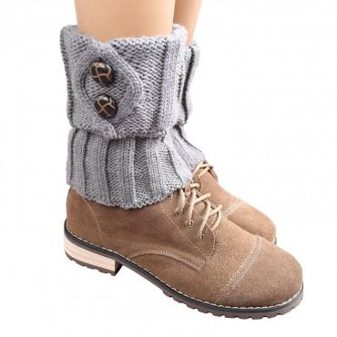 Pletené návleky na nohy šedé 15 cm