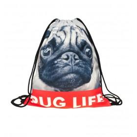 Plátený vak s 3D potlačou Pug life