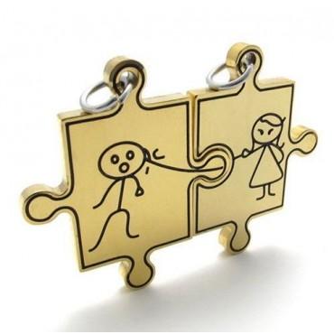 Prívesok pre dvoch, puzzle panáčik a panenka black