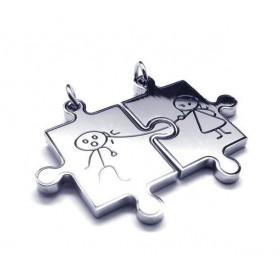 Prívesok pre dvoch, puzzle panáčik a panenka silver