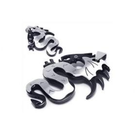 Prívesok Dragon z chirurgickej oceli - stříbrno-čierny