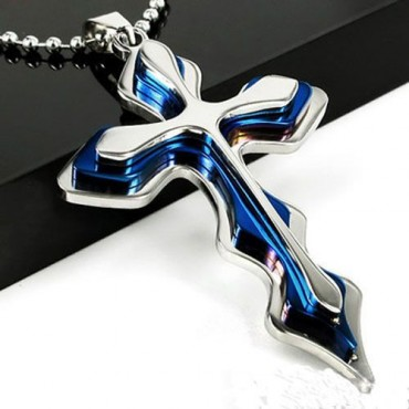 Prívesok modrý Krížik 5 z chirurgickej ocele