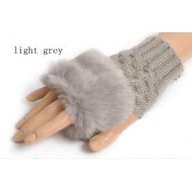 Sivé pletené dámske rukavice bezprstové s kožúškom