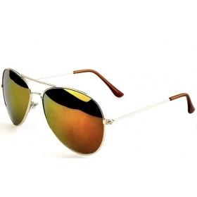 Slnečné okuliare pilotky zlato-červené zrcadllové - strieborný rám