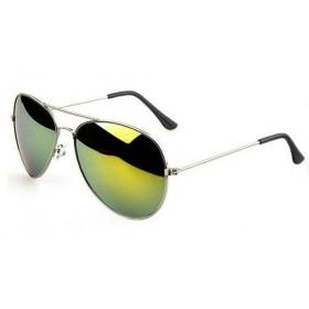 Slnečné okuliare pilotky zelené zrcadllové - stříbný rám