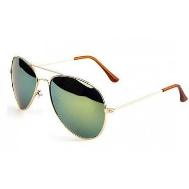 Slneční okuliare pilotky zelené zrkadlové - zlatý rám
