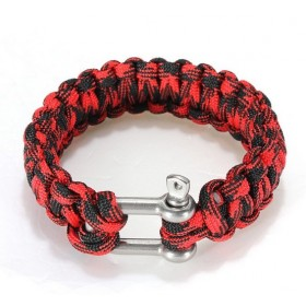 Survival náramok -pletený čierno-červený
