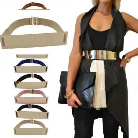 Zlatý široký kovový dámský pásek hnedý