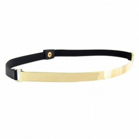 Zlatý úzký metalický pásek černý