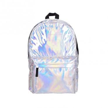 Who Cares strieborný metalický batoh Hologram