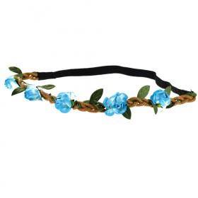 Květinová čelenka do vlasov modrá