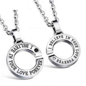 Ocelové přívěsky pro pár Love Forever silver